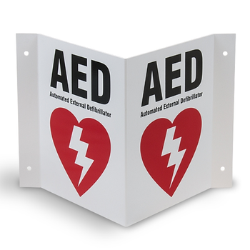 AED Wall Sign 3-Way  Product Photo
