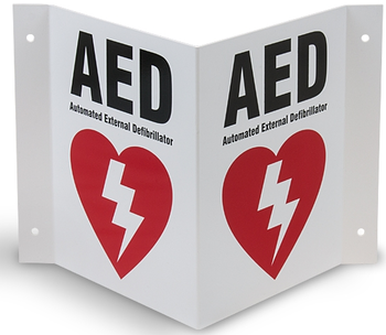 AED Wall Sign 2-Way  Product Photo